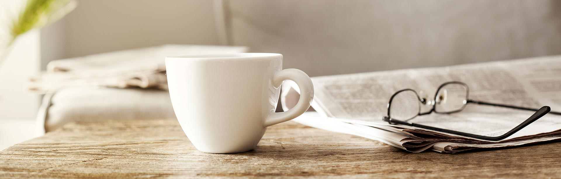 Coffee and glasses on table